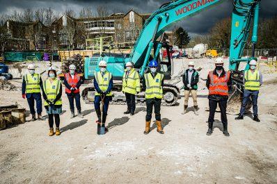 Marking the start of the Dorset County Hospital multi-storey car park construction